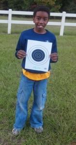 He got a bull's eye with the BB gun!