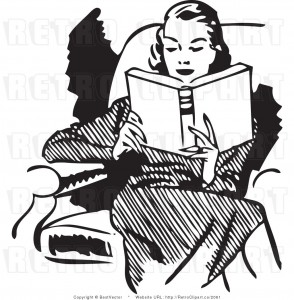 woman-reading-clip-art-vintage
